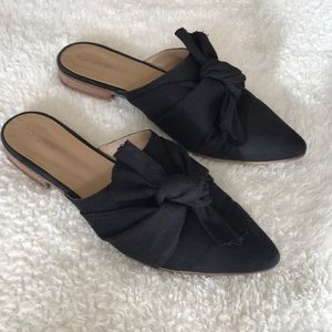 Top shop black mules with bow